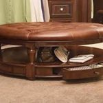 Round Coffee Table Ottoman Leather