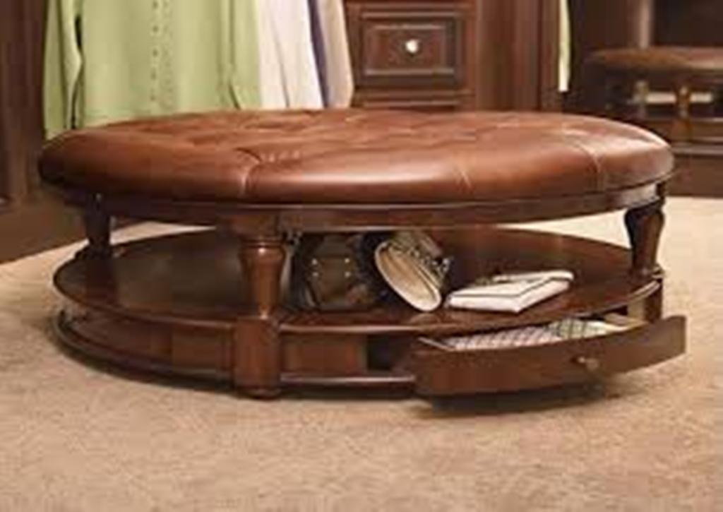 Image of: Round Coffee Table Ottoman Leather