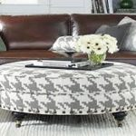 Round Coffee Table Ottoman With Shelf