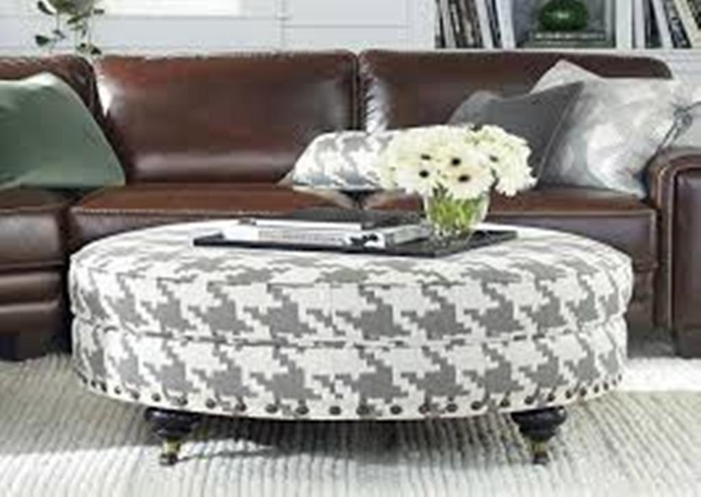 Picture of: Round Coffee Table Ottoman with Shelf