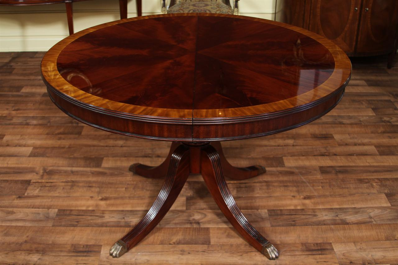 Image of: Round Dining Table with Leaf Mahogany