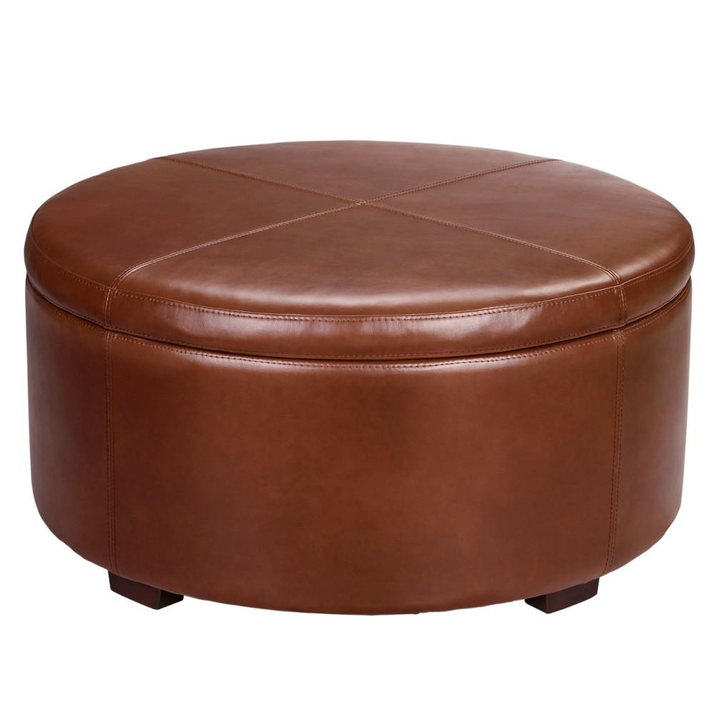Image of: Round Large Leather Ottoman Ideas