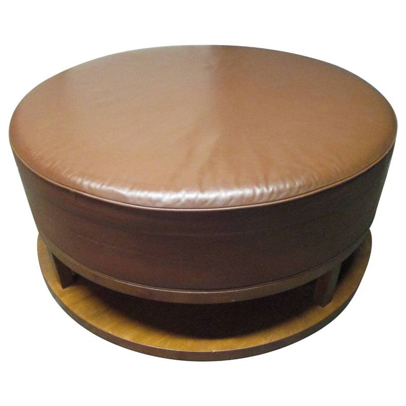 Image of: Round Large Leather Ottoman