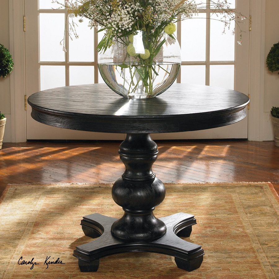 Image of: Round Pedestal Dining Table Black