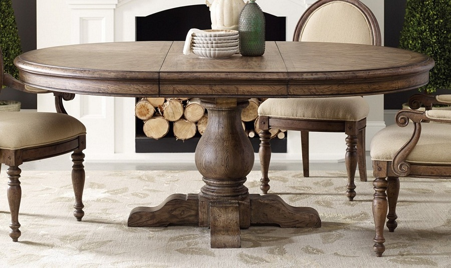Image of: Round Pedestal Dining Table with Leaf