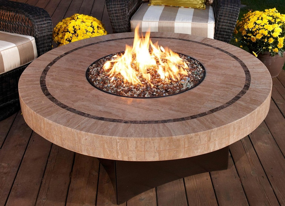 Image of: Round Wood Burning Fire Pit Table