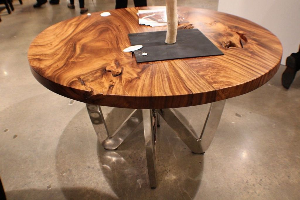 Image of: Round Wood Slab Dining Table