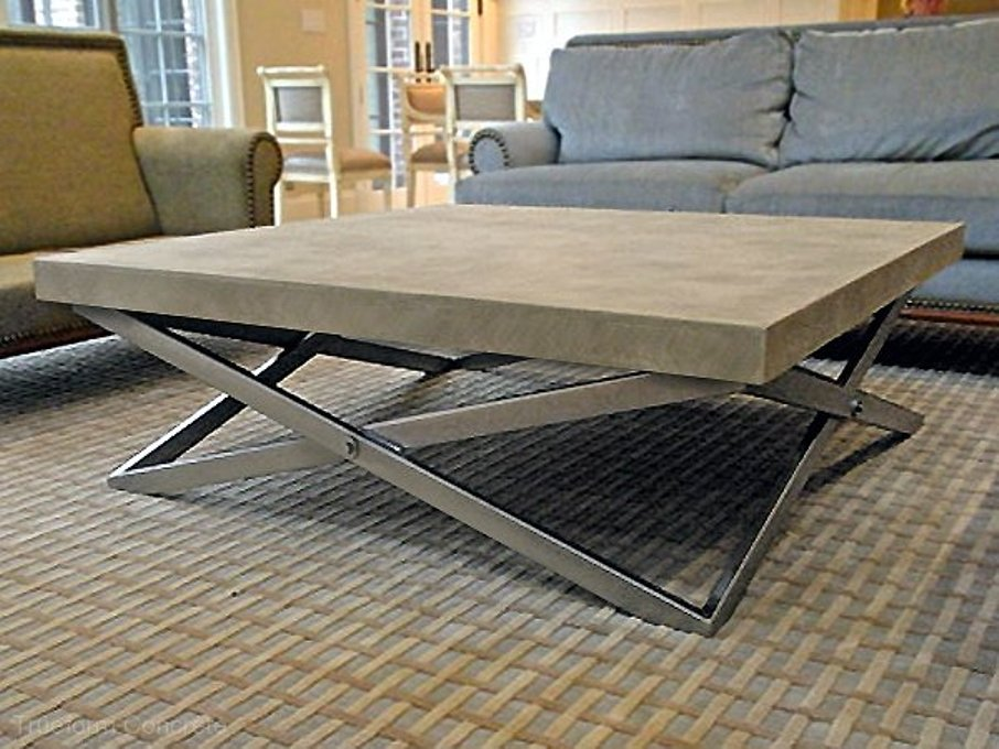 Image of: Round cement coffee table