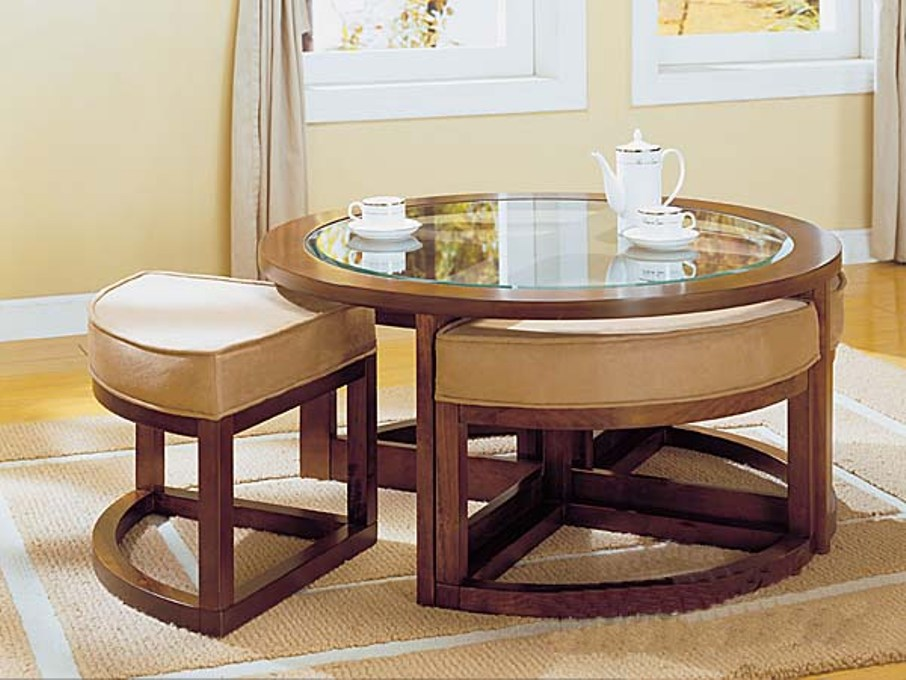 Picture of: Round cocktail table with fitted stretch tablecloth