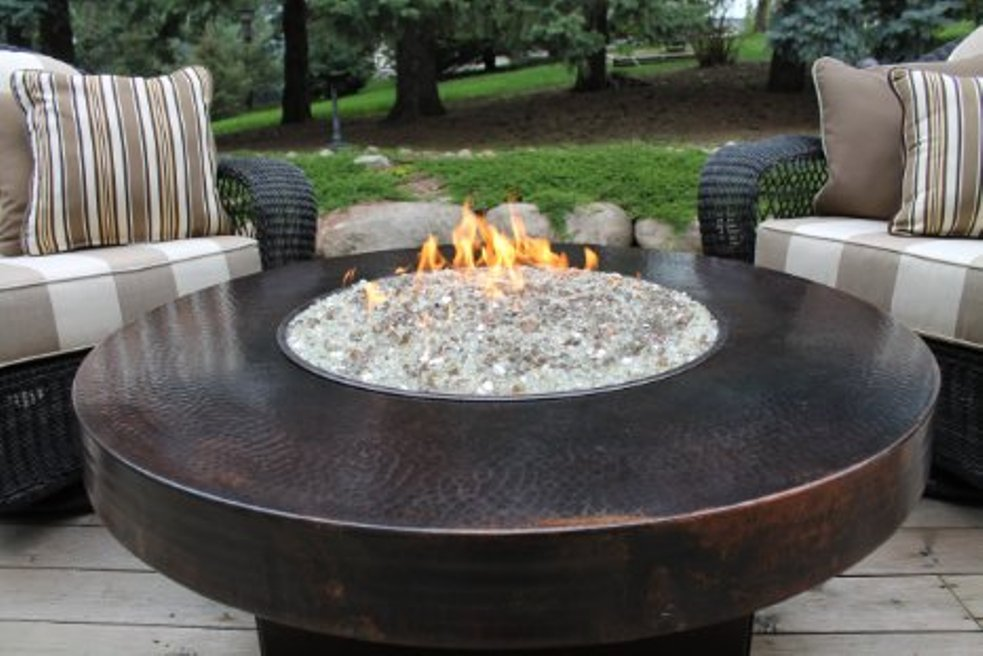 Picture of: Round fire pit table cover