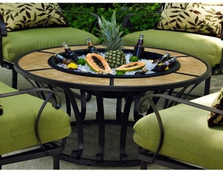 Image of: Round fire pit table propane