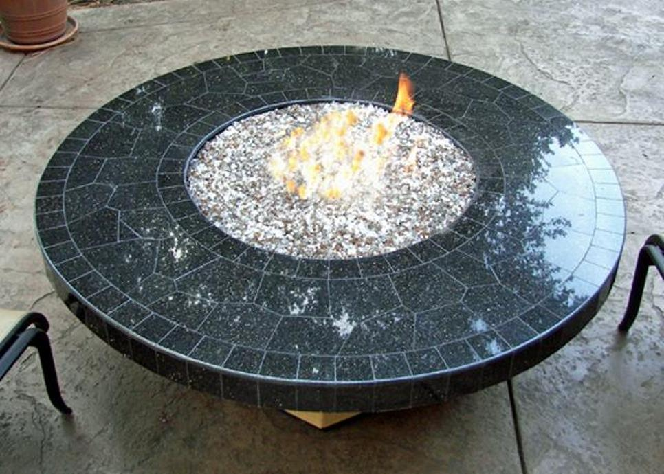 Image of: Round fire pit table top