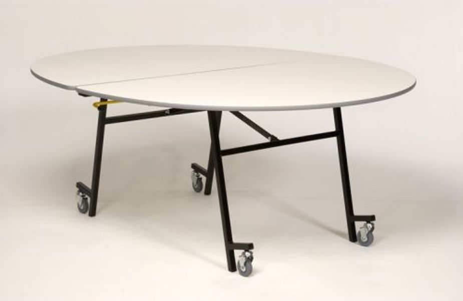 Picture of: Round folding table adjustable legs