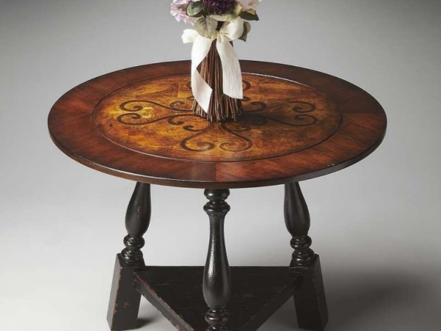 Image of: Round foyer table height