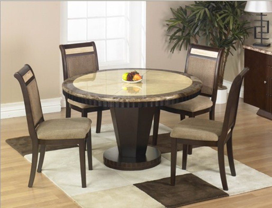 Image of: Round marble top dining table with lazy Susan