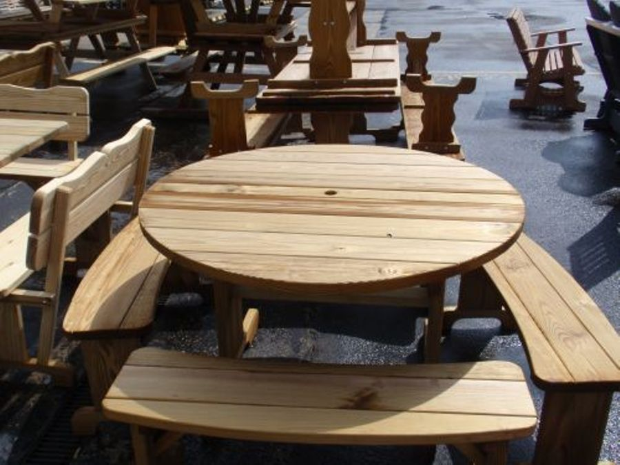 Image of: Round Picnic Table And Benches