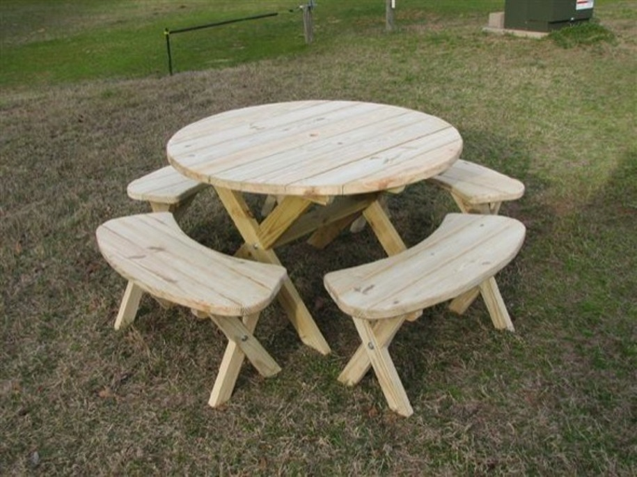 Image of: Round picnic table plans