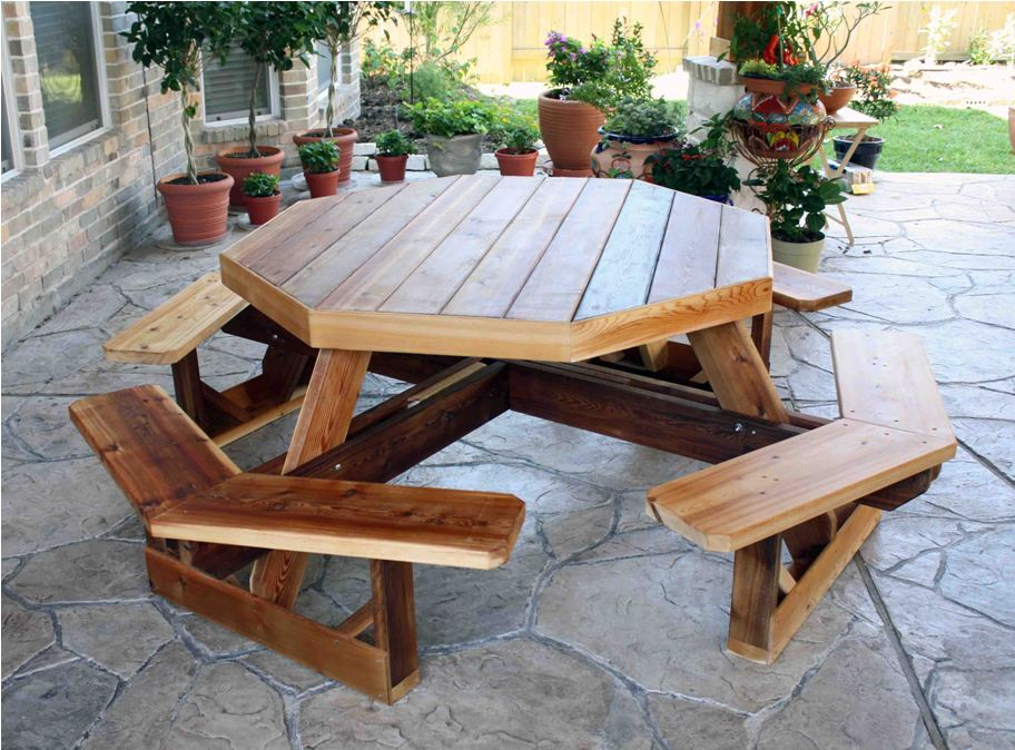 Image of: Round picnic table with attached benches