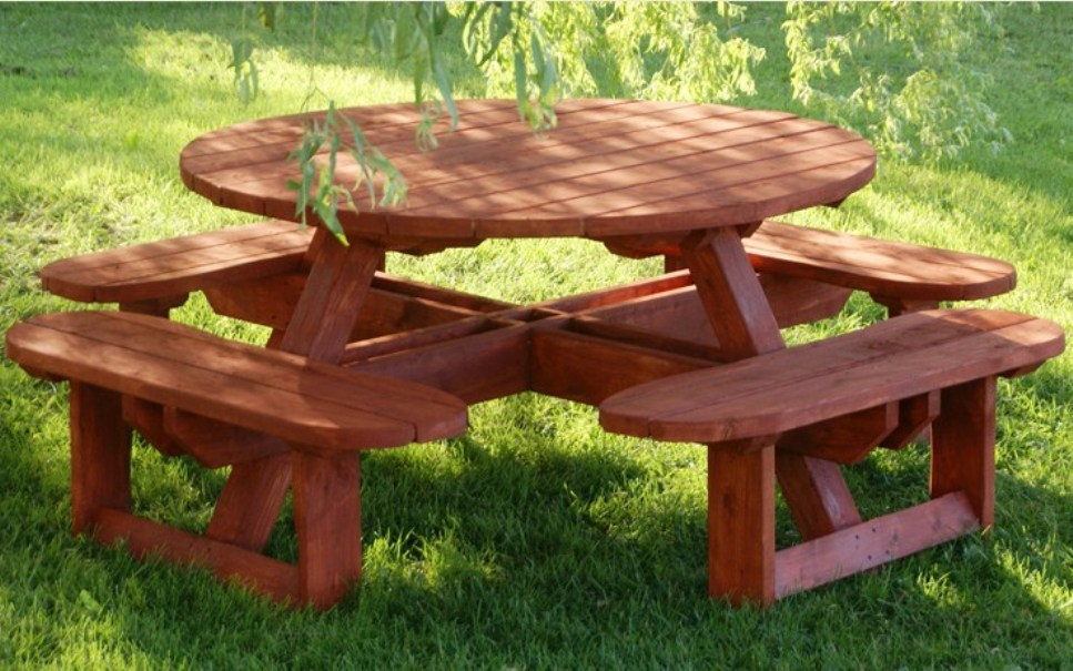 Image of: Round picnic tablecloths