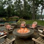 Round propane fire pit table and chairs