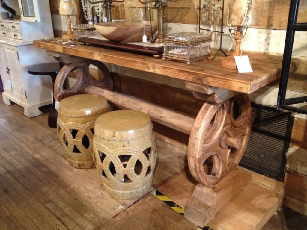 Picture of: Rustic Console Table With Wheels