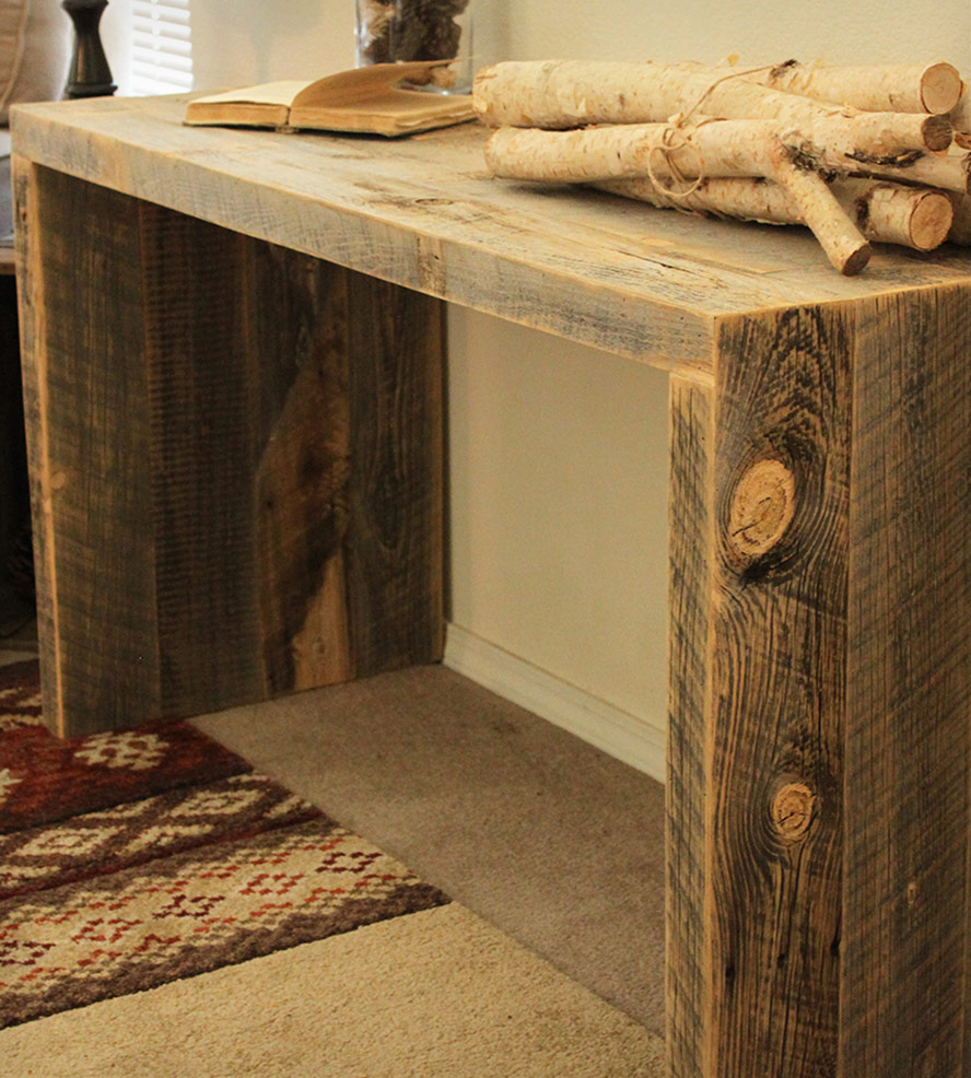 Picture of: Rustic Reclaimed Wood Sofa Table