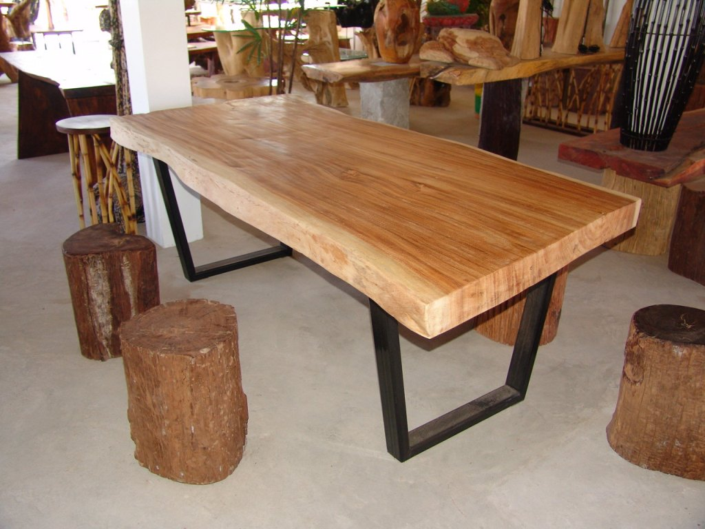 Image of: Rustic Wood Slab Dining Table
