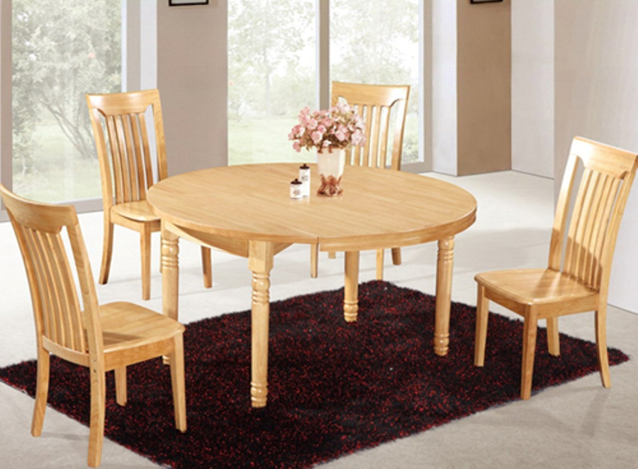 Picture of: Rustic solid wood round dining table