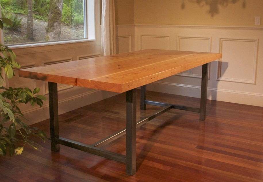 Picture of: rustic wood and metal dining table