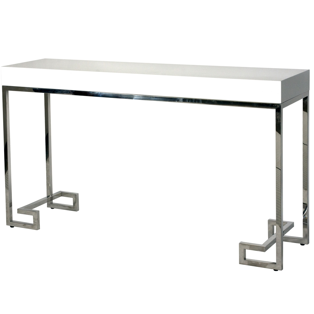 Simple White Lacquer Console Table