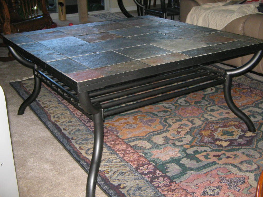 Image of: Slate Top Coffee Table Black