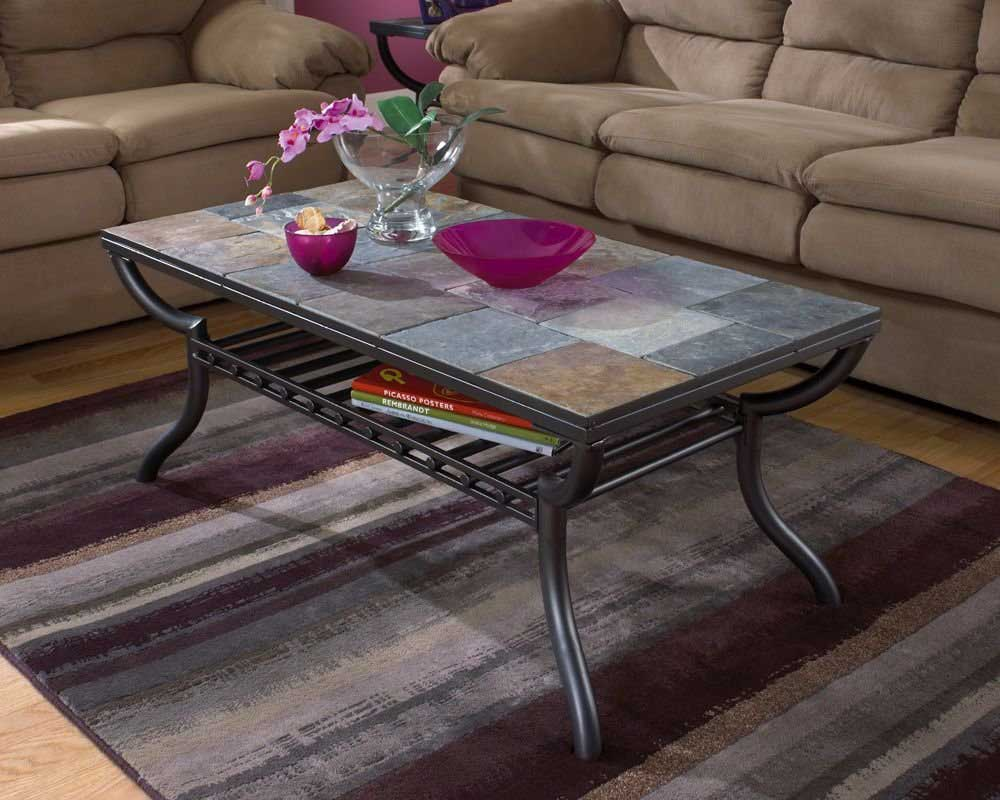 Picture of: Slate Top Coffee Table Steel