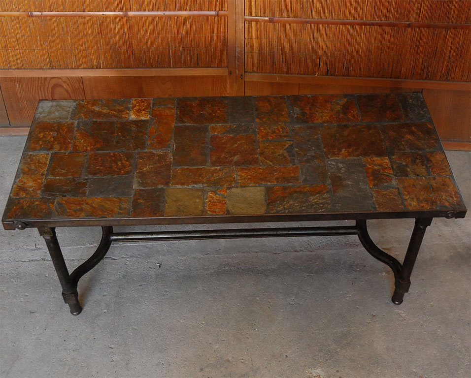 Picture of: Slate Top Coffee Table Stone Pattern