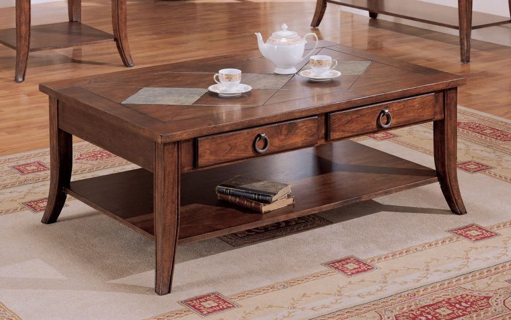 Slate Top Coffee Table With Storage