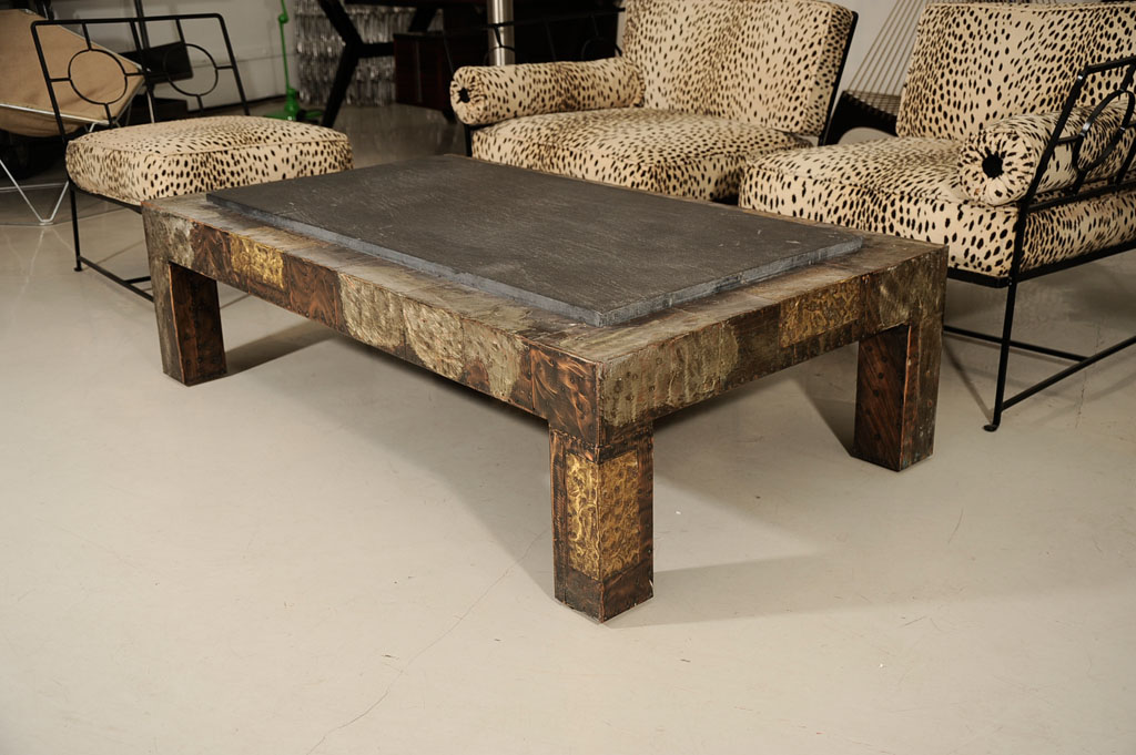 Picture of: Slate Top Coffee Table Wood Style