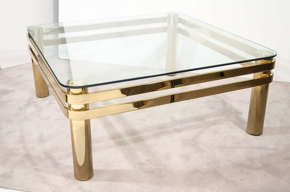 Image of: Small Brass Glass Coffee Table