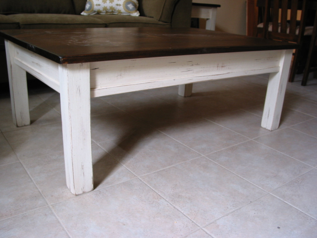 Image of: Small Distressed White Coffee Table