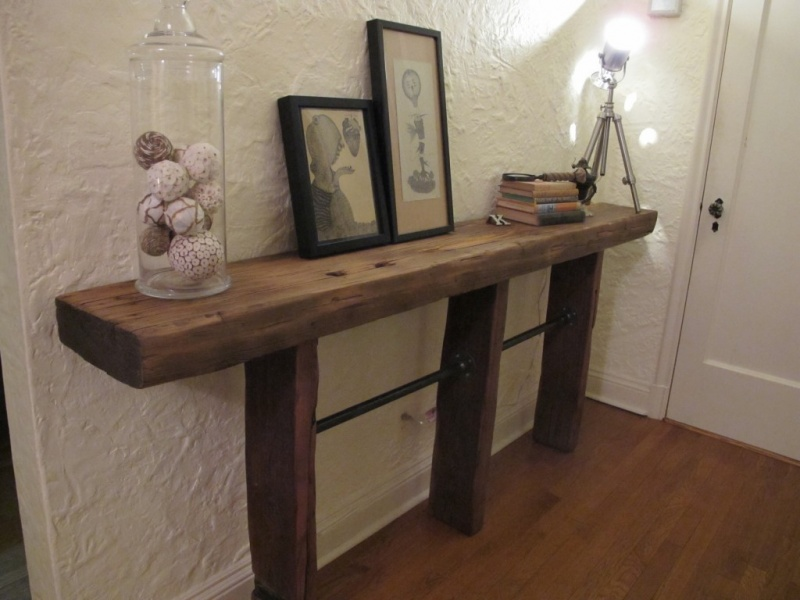 Picture of: Small Reclaimed Wood and Sofa Table
