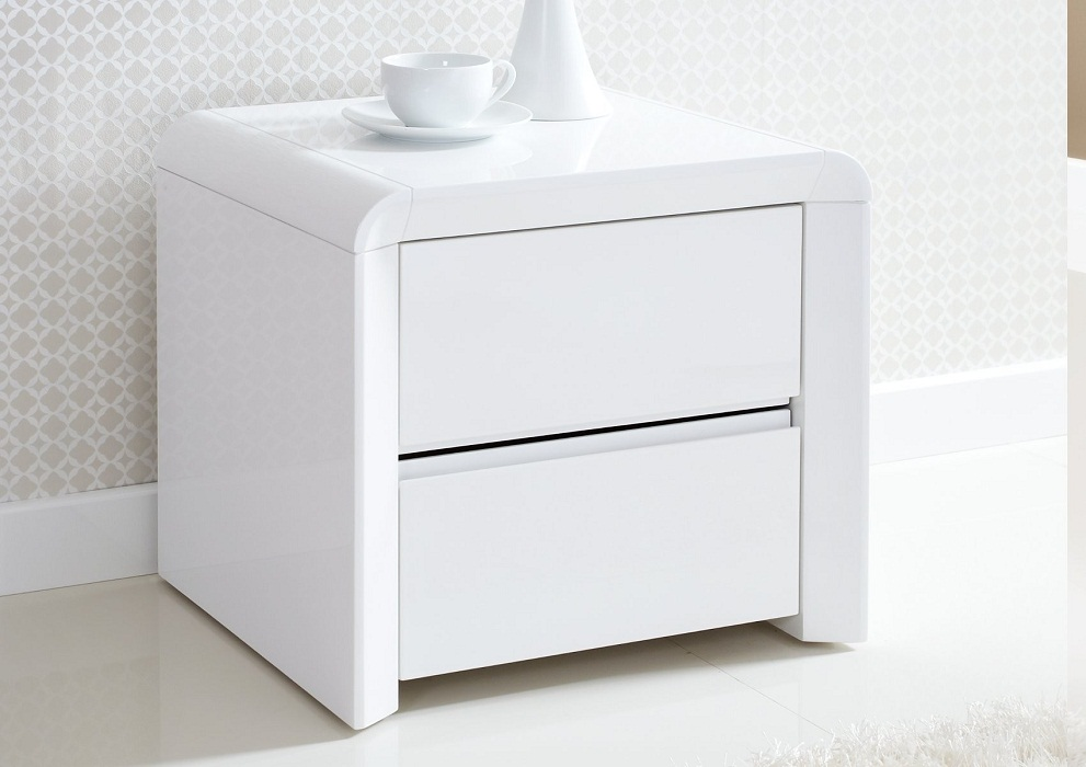 Picture of: Small White Bedside Table