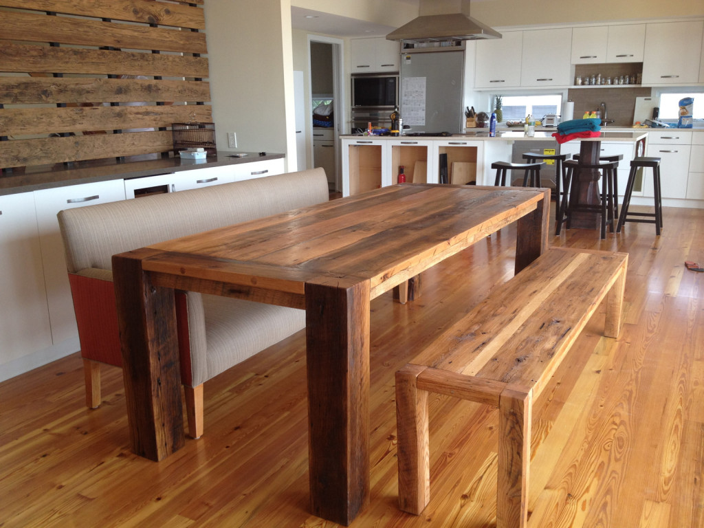 Image of: Solid Wood Tables and Bench