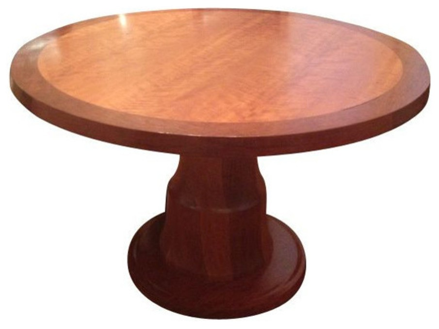 Solid cherry wood round dining table