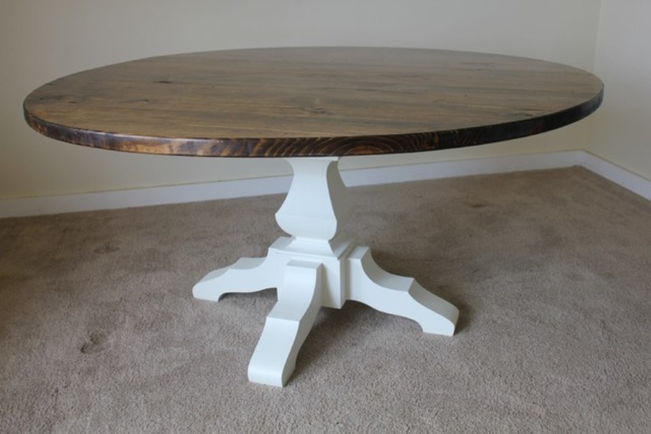 Image of: Solid wood round dining table and chairs