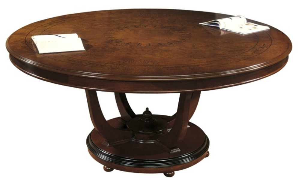 Picture of: Solid wood round dining table with leaf