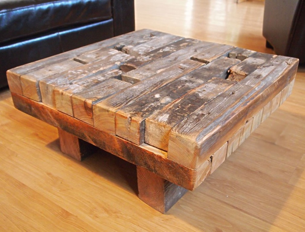 Picture of: square coffee table reclaimed wood
