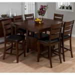 Square Dark Cherry Wood Dining Table