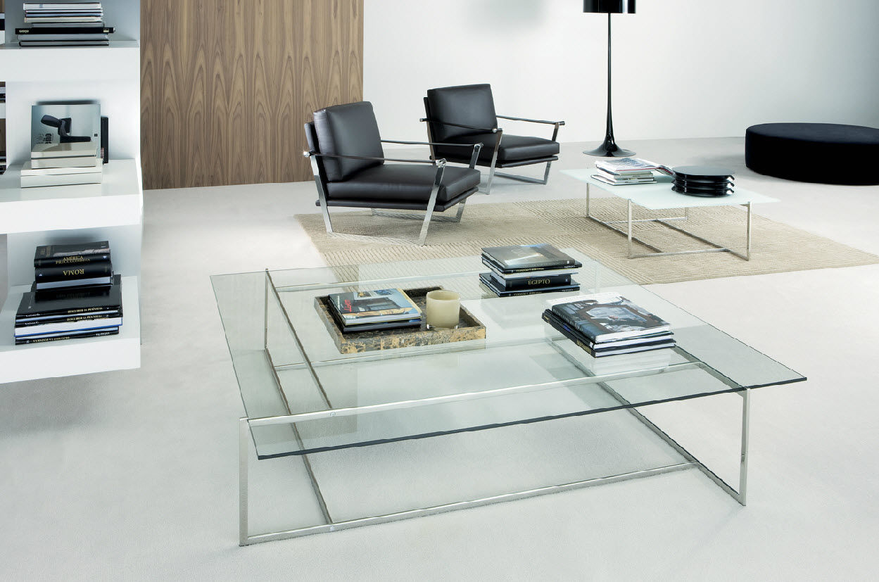 Image of: Square Glass Coffee Table Books