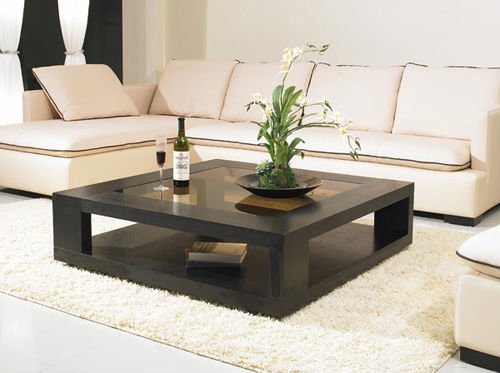 Image of: Square Glass Coffee Table Centerpieces