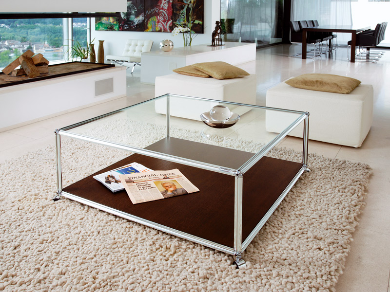 Image of: Square Glass Coffee Table Decorating