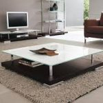 Square Glass Coffee Table with Storage
