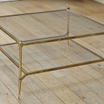 Square Glass And Brass Coffee Table